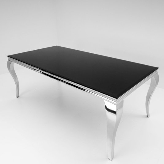 Louis Black Glass and Steel 200cm Dining Table