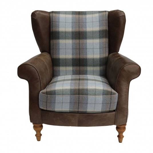 Holbeck Brown Leather & Fabric Armchair