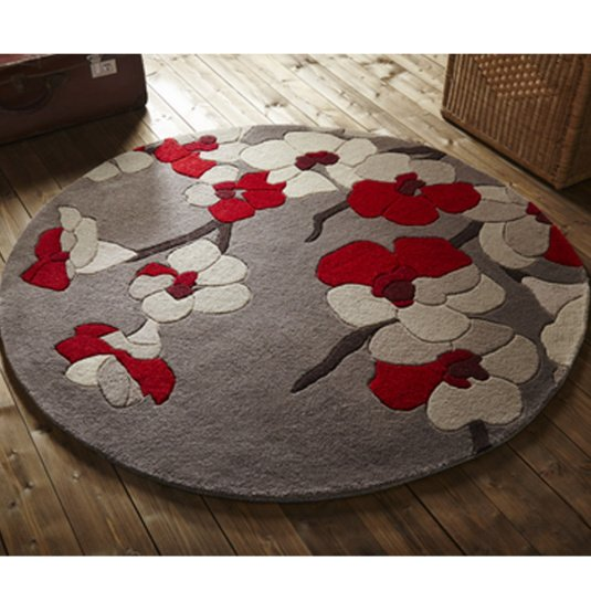 Infinite Blossom Red 135cm Circle Rug