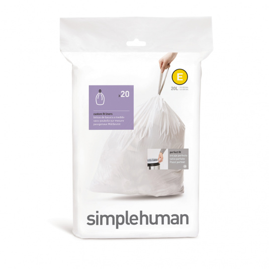 Simplehuman 20 Litre Sure Fit Draw Closure Bin Liners - Size E