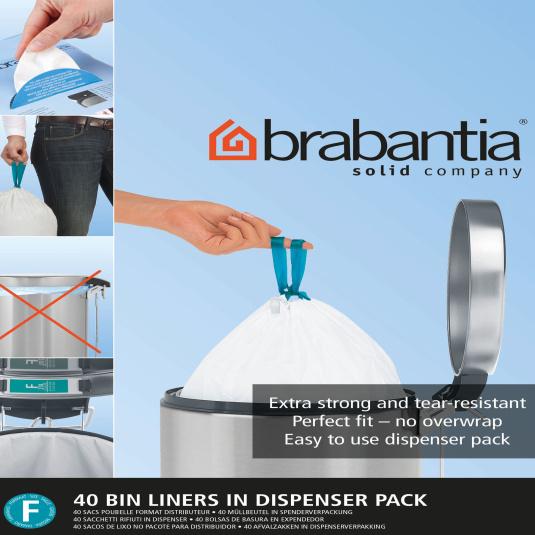 Brabantia Dispenser Pack of Slimline Bin Bags - Size F
