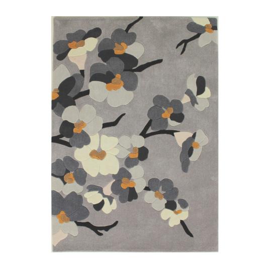 Infinite Blossom Grey and Ochre 160cm x 230cm Rug | Housing Units