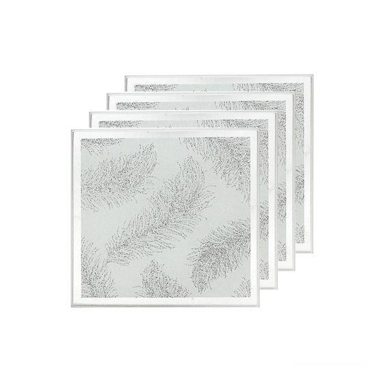 Set of 4 Mirrored White Feather Glass Coasters