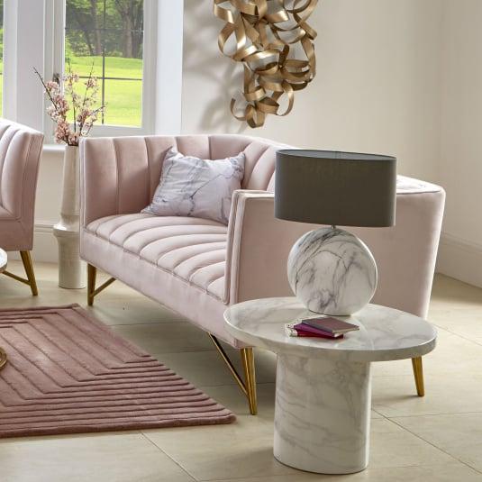 Savona Pink Velvet 2 Seater Sofa
