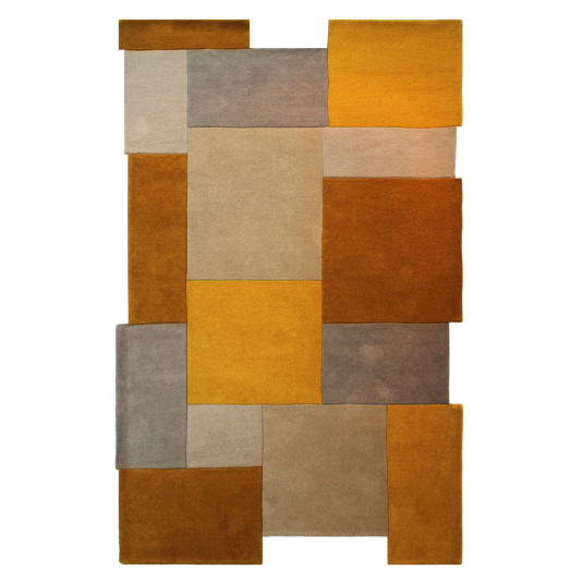 Abstract Collage Ochre 120cm x 180cm Rug