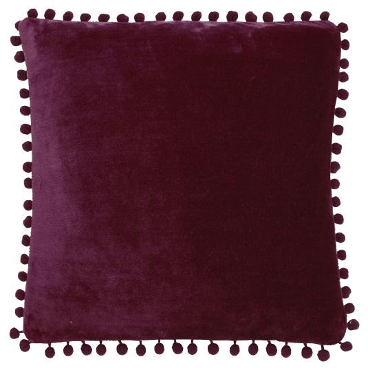 Cashmere Touch Mulberry Fleece  Pom Pom Cushion
