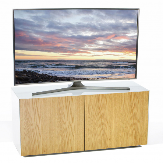 "Invictus White and Oak TV Stand for up to 55"" TVs - Self Build"