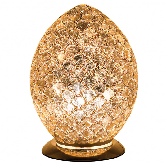 Distressed Gold Medium Egg Mosaic Table Lamp