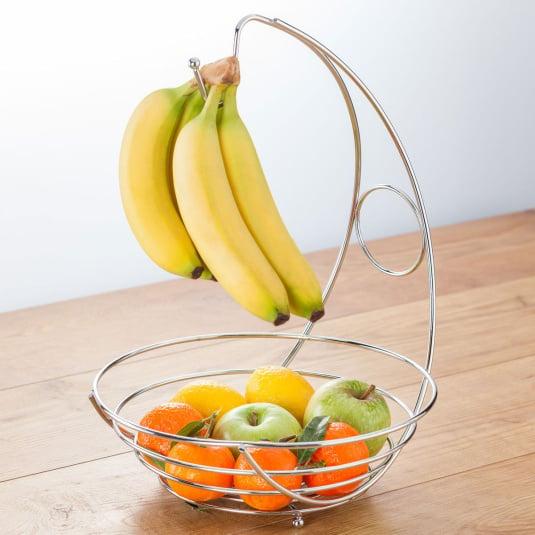 Chrome Effect Wire Banana Hook Fruit Bowl
