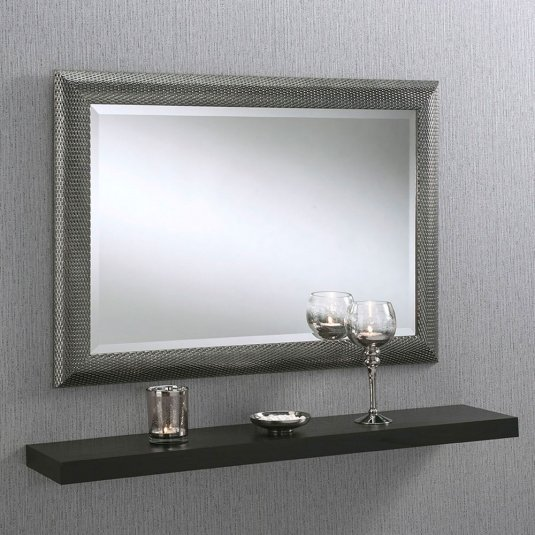 Grey Knitted Framed Mirror
