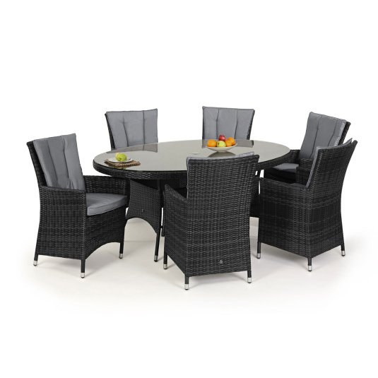 Maze Rattan Lagos Grey Rattan Garden Oval Dining Table & 6 Chairs - With Table Dressings