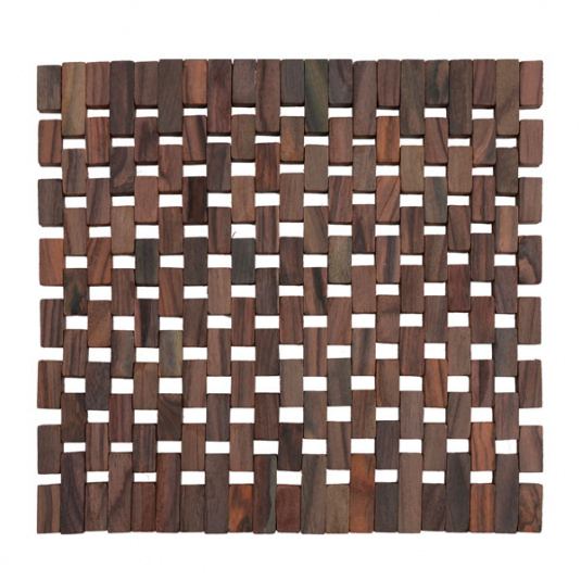 Set of Two Dark Wood Slatted Placemats