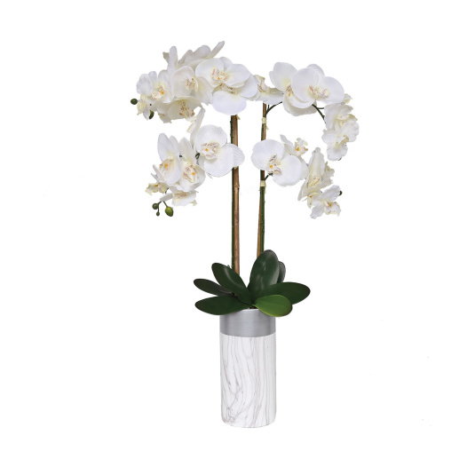 Marble Potted Artificial Orchid