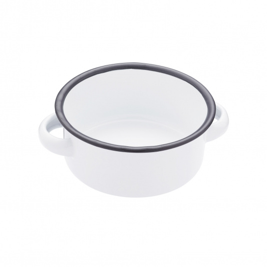White 11cm Enamel Serving Bowl with Handles