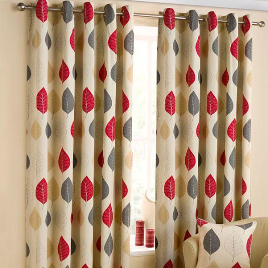 Modern Leaf Ready Made Eyelet Curtains