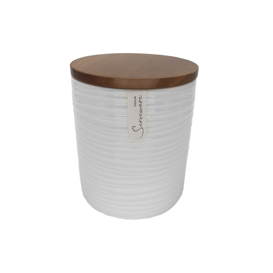 Large Off White Ripple Storage Canister