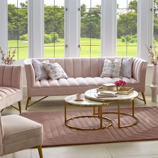 Savona Pink Velvet 3 Seater Sofa