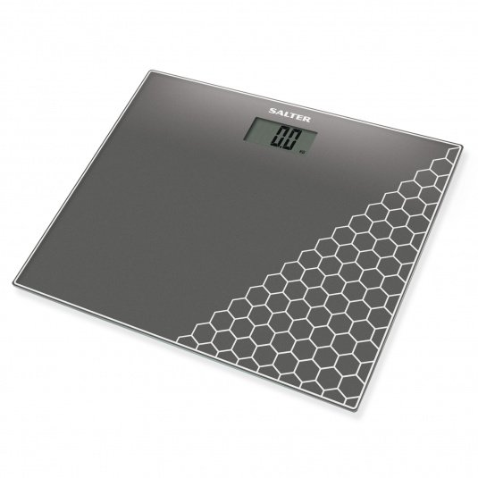 Salter Compact Glass Electronic Silver Bathroom Scales