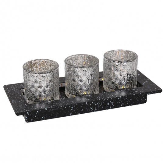 LED Tea Light Silver Gift Set