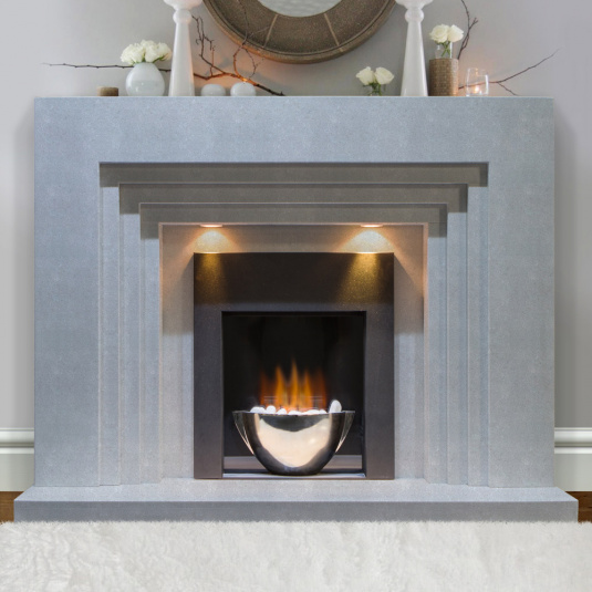 Lisbon Grigio Marble Fire Surround with Lights