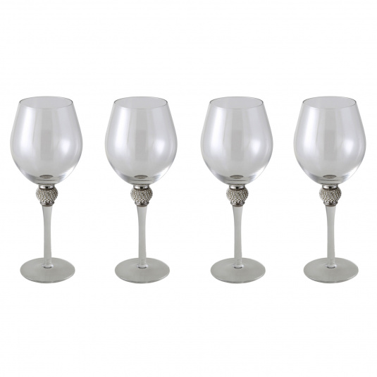 Diana Set of 4 Silver Wine Glasses