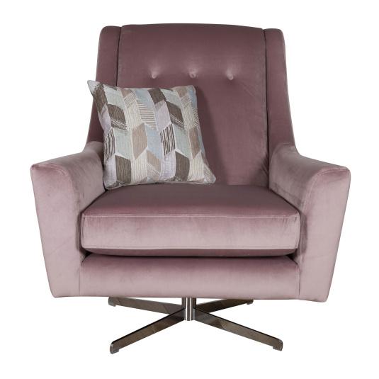Cranford Pink Velvet Swivel Chair