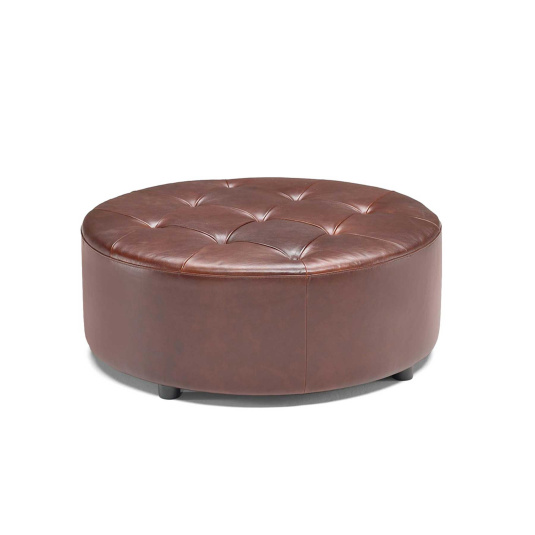 Natuzzi Editions Brown Leather Gaia Round Footstool