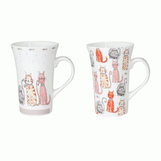 Rose Blush Set of 2 Cat Latte Mugs