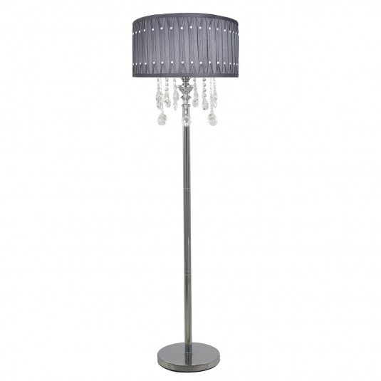 Versailles Silver & Chrome Floor Lamp with Grey Shade