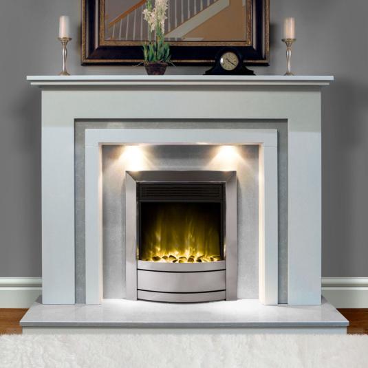 Versio White & Grey Marble Surround with Lights