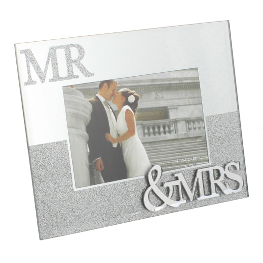 """Mr And Mrs Mirror With Glitter Photo Frame 6"""" x 4"""""""