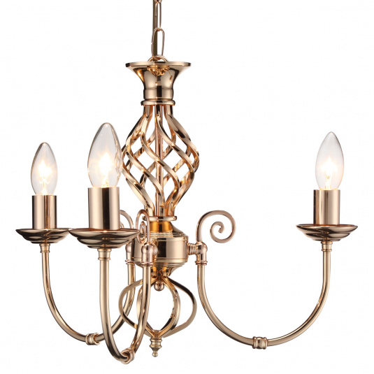 HU Home Barley French Gold 3 Arm Pendant Light