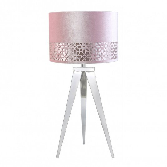 Casbar Chrome Table Lamp and Pink Shade