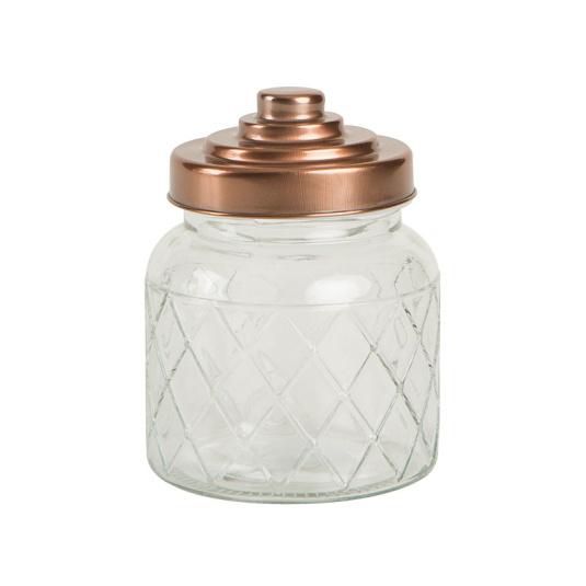 Copper Lid Small Lattice Glass Storage Caddy