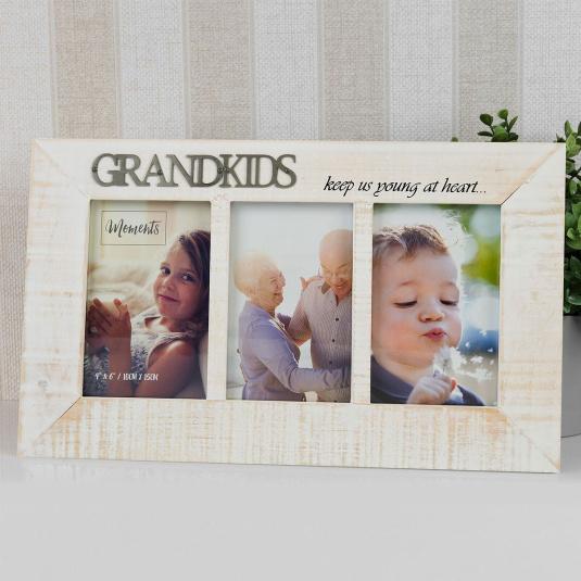 "Wooden Grandkids Triple Distressed Frame 4"" x 6"""