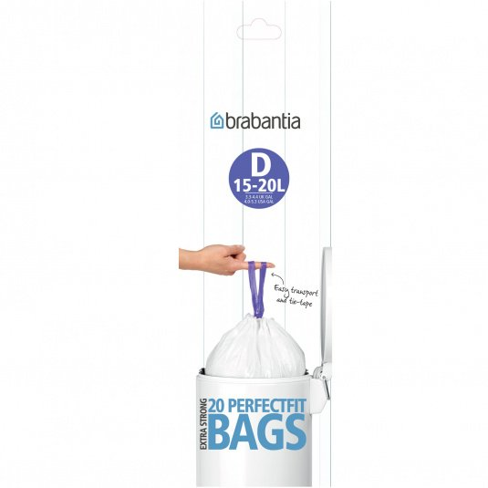 Brabantia 15 Litre Perfect Fit Bin Liners - Size D