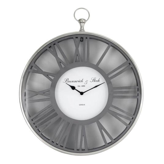 Grey Wood and Nickel Wall Clock