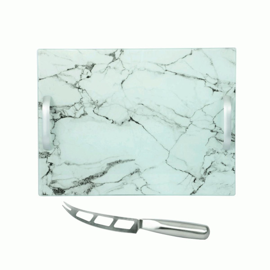 Rectangular Glass Marble Cheese Service Board