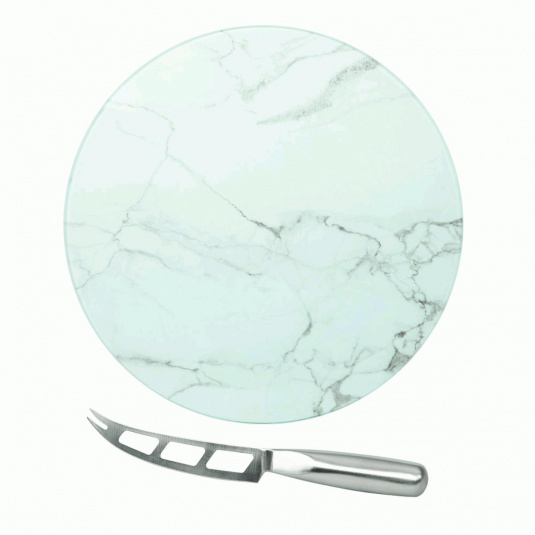 Circular Glass Marble Cheese Service Board
