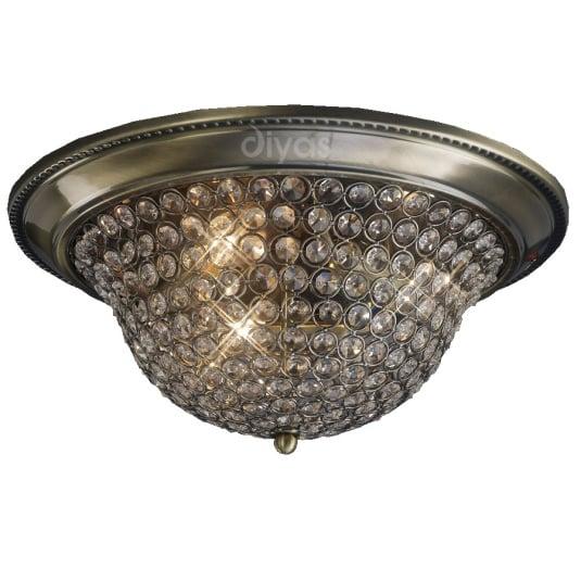 Paloma Antique Brass Flush 3 Light