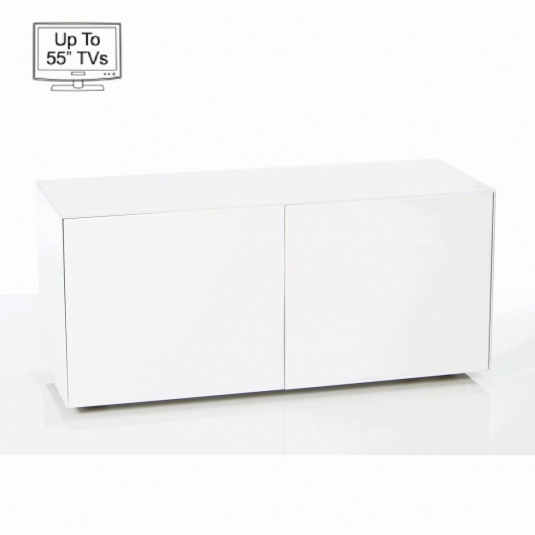 "Invictus White High Gloss TV Stand for up to 55"" TVs - Self Build"