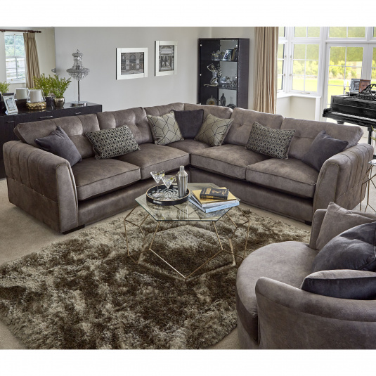 Monte Carlo Taupe Velvet Corner Group With Gold Stud Detailing - Lifestyle