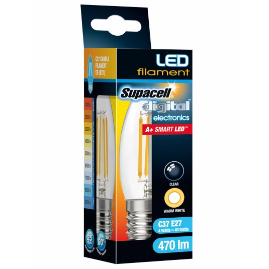 Supacell ES E27 4W Candle LED Filament Clear Light Bulb