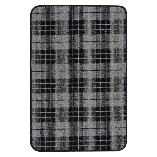 Woodland Check Black and Grey Mat
