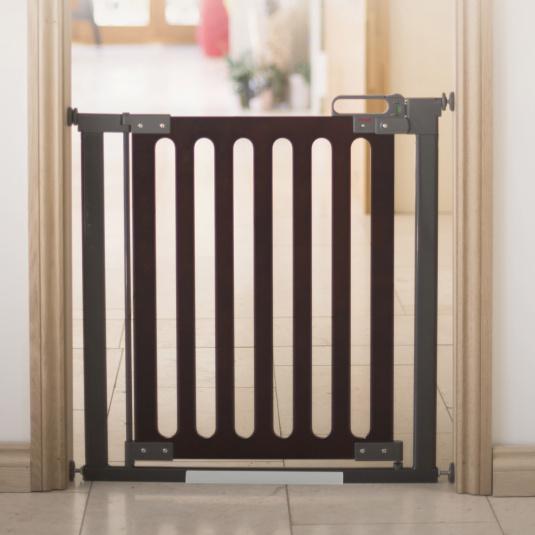 Fred Pressure Fit Dark Oak Wooden Stair Gate