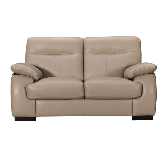 Alberta Beige Leather 2 Seater Sofa