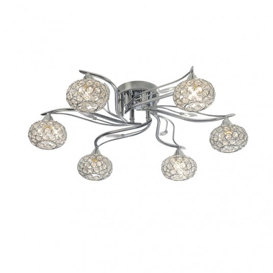 Leimo Polished Chrome 6 Light Flush Ceiling Light