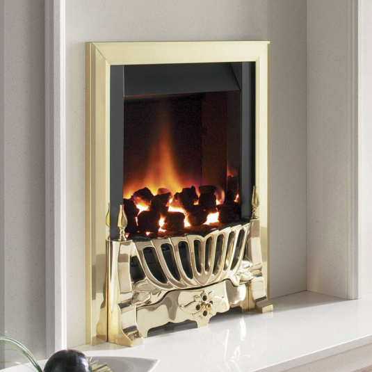 Flavel Warwick Powerflue Brass Gas Fire