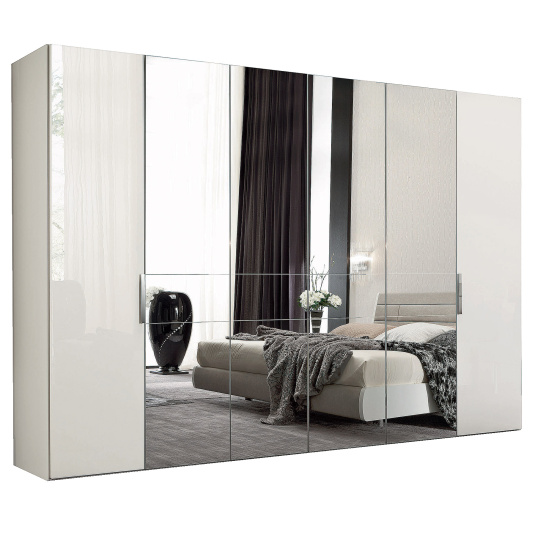 Torino White High Gloss 6 Door 226cm Wardrobe