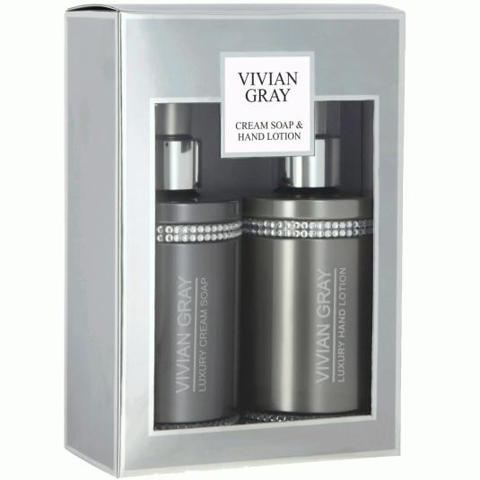 Vivian Gray Crystal Soap & Hand Lotion Grey